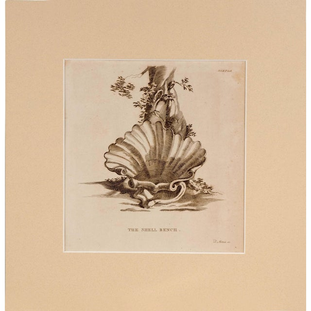 Original Engraving Strawberry Hill Shell Bench - Image 1 of 3