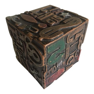 1960 Dada Ceramic Typography Cube Sculptural Object