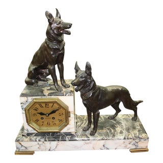 Large French Art Deco Clock Two Dog Sculpture, circa 1940s