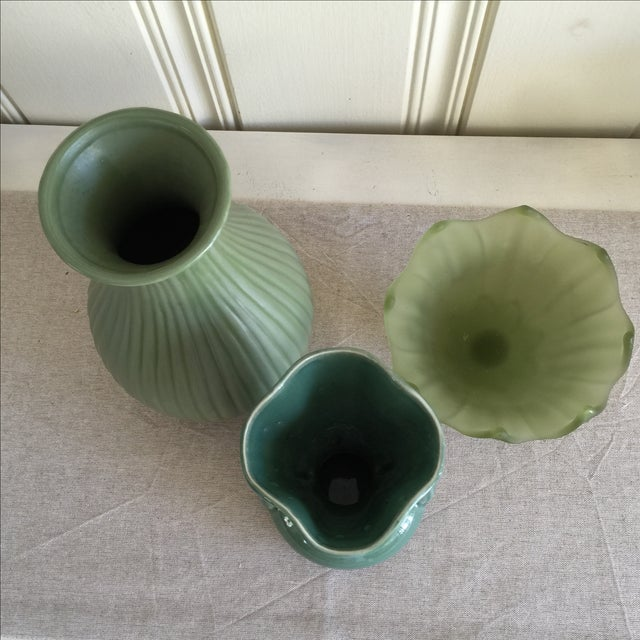 Image of Green Ceramic & Frosted Glass Vases - Set of 3