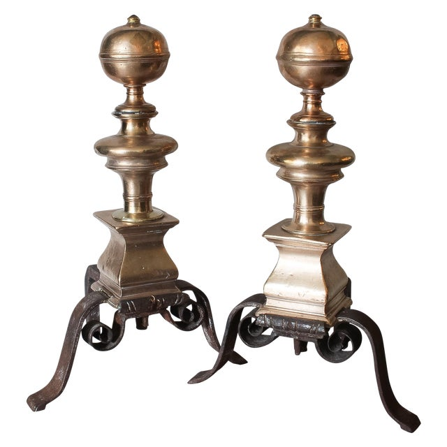 Image of 17th C. Continental Brass & Iron Andirons - A Pair