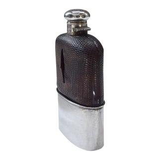 Antique Sterling and Crocodile Hip Flask