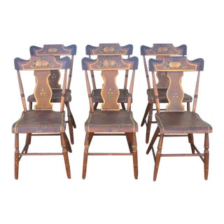 Set of Six Original Painted 19th Century Pennsylvania Plank-Bottom Chairs
