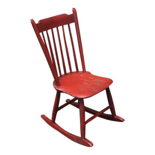 19th Century Original Salmon Painted Windsor Rocking Chair