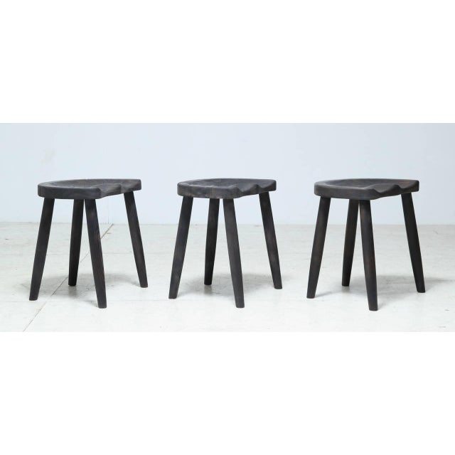 Image of Studio Stools in Blackened Wood by Robert Roakes, USA, 1970s
