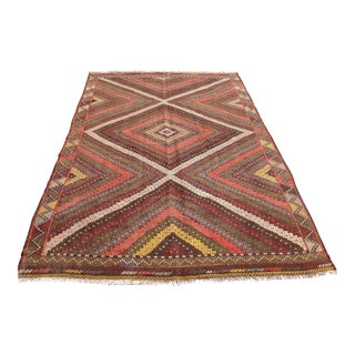 "Vintage Turkish Kilim Rug - 6'4"" x 9'9"""