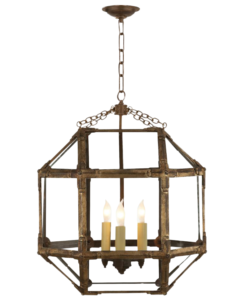 antique lantern in a gilded iron finish