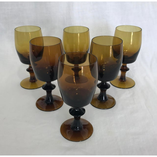 1960s Amber Stem Glasses - Set of 6 - Image 6 of 8