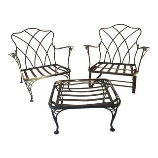 Vintage Wrought Iron Patio Chairs & Ottoman - Set of 3