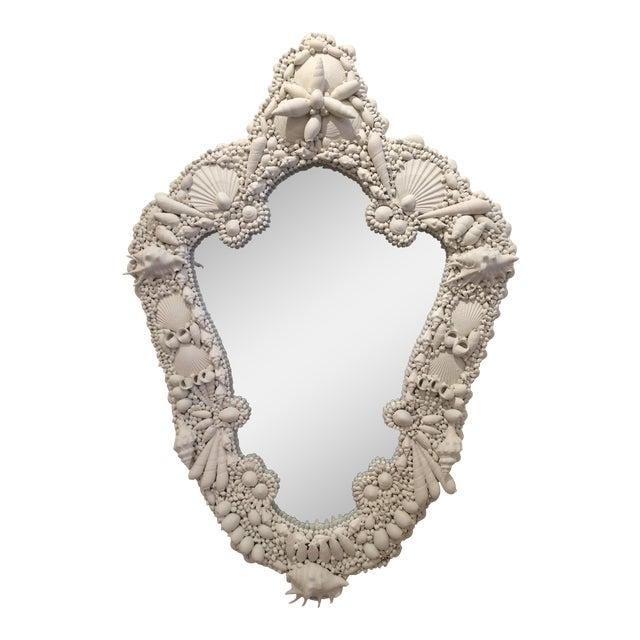 White Gesso Serpentine Shell Mirror - Image 1 of 6