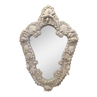 White Gesso Serpentine Shell Mirror