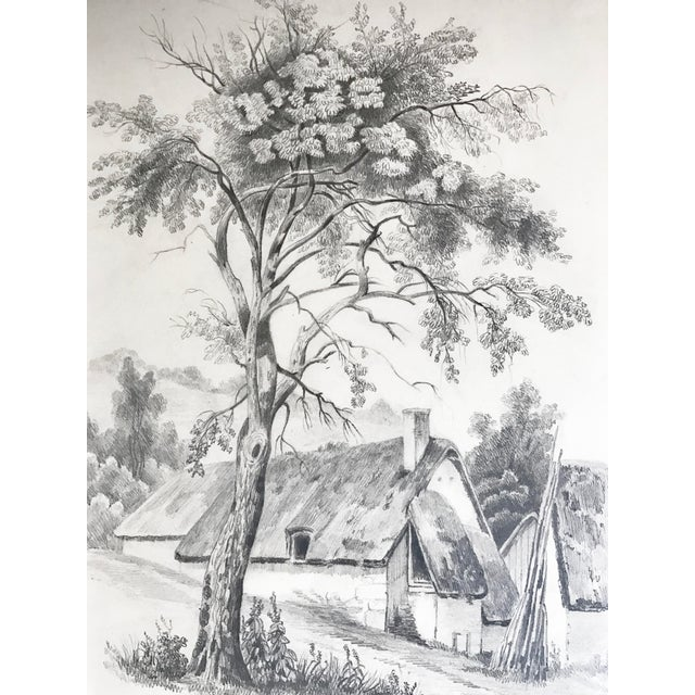 19th C French Cottage Landscape Drawing - Image 2 of 5