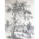 Image of 19th C French Cottage Landscape Drawing