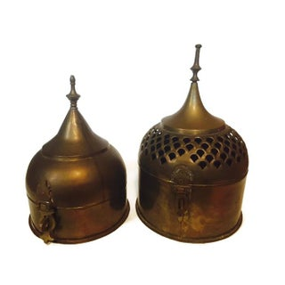 Vintage Brass Buddhist Stupa Storage Boxes - A Pair