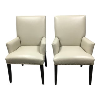 HD Buttecup Feather Leather Ally Armchairs - A Pair