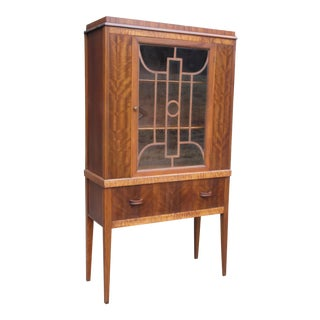 1930s Art Deco Walnut & Glass Curio China Cabinet
