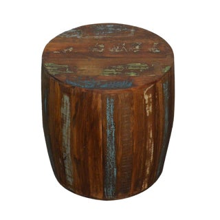 Rustic Reclaimed Wood Drum Barrel Style Side Table
