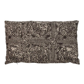 Raoul Textiles Brown Block Print Lumbar Pillow