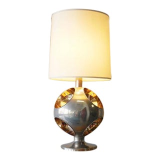 Large French Modernist Stainless Steel and Brass Table Lamp, 1970s