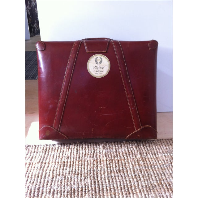 Image of Vintage Leather Suitcase With Brass Hardware