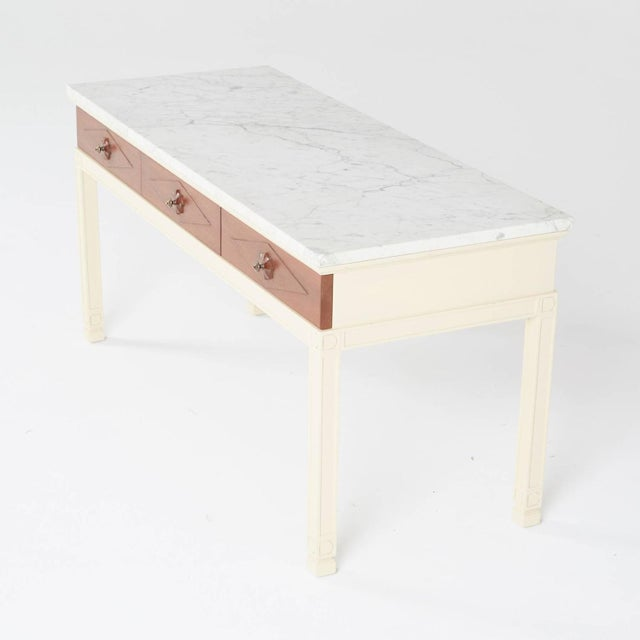 Image of 1940s Grosfeld House White Marble Console Table