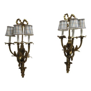 Vintage Louis XV Bronze Candelabra Wall Sconces - A Pair