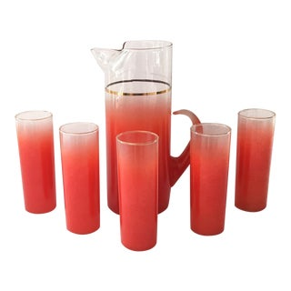 Blendo Glass Pitcher Set With 5 Tom Collins Glasses in Rare Red