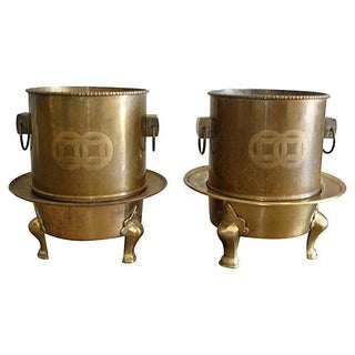 Chinoiserie Brass Planters - Pair