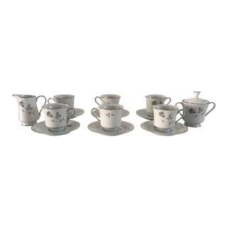 "Vintage Fine China ""Shadow Rose"" Tea Set Service for 6 - 14 Pcs."