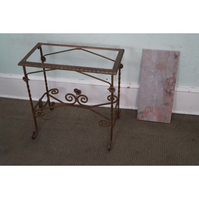 Antique wrought iron marble top side table chairish for Wrought iron table bases marble top