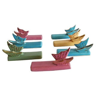 Vintage Majolica Butterflies Knife Rests - S/7