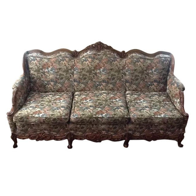 Antique Tapestry Sofa: Hand-Carved Italianate Tapestry Sofa