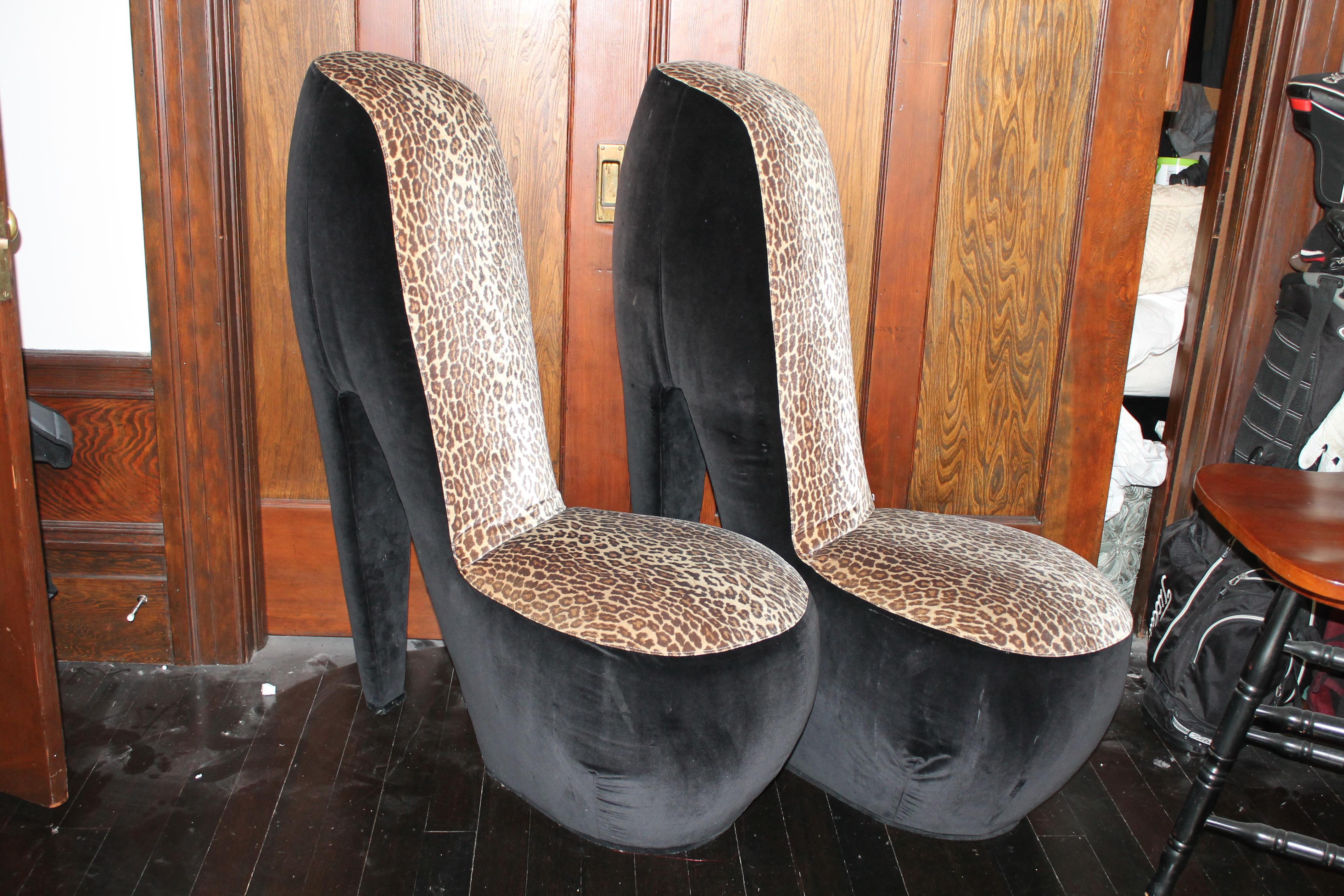 Leopard Print High Heel Shoe Chairs   A Pair   Image 2 Of 8