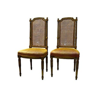 Old High Cane-Back Chairs - Pair