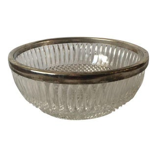 Antique Crystal Bowl with Silver Plated Rim