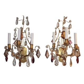 French Bronze & Crystal Sconces w Amethyst