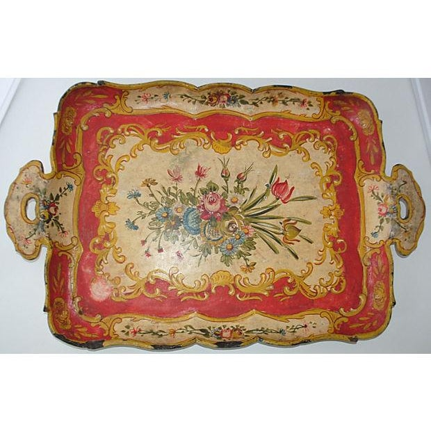 Red Japanese Floral Tray - Image 2 of 5