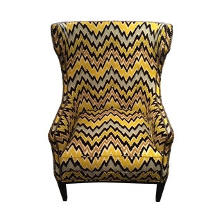Flame Stitch Upholstered Club Chair