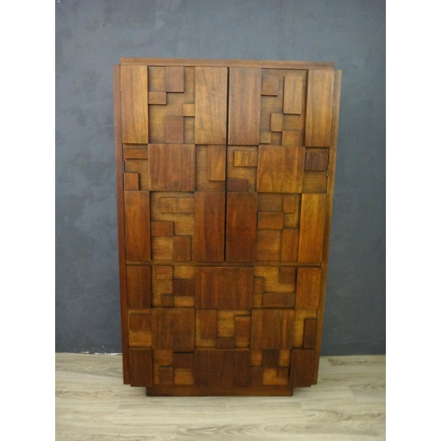 "Mid-Century Lane Brutalist ""Mosaic"" Highboy Bureau - Image 3 of 8"