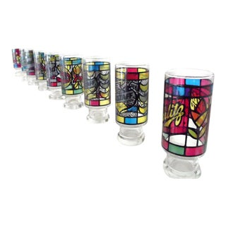 Vintage Logo Mondrian Stained Glasses - Set of 8