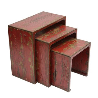 Tibetan Red Lacquered Tables - Set of 3