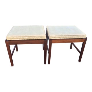 Signed Swedish Teak Stools with Cushions - A Pair