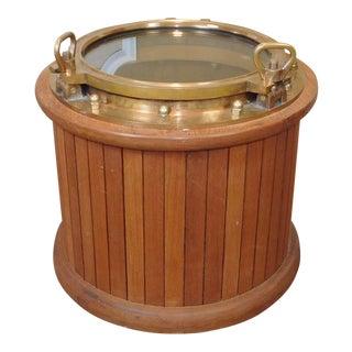 Vintage Teak & Brass Porthole Nautical Bar Cabinet