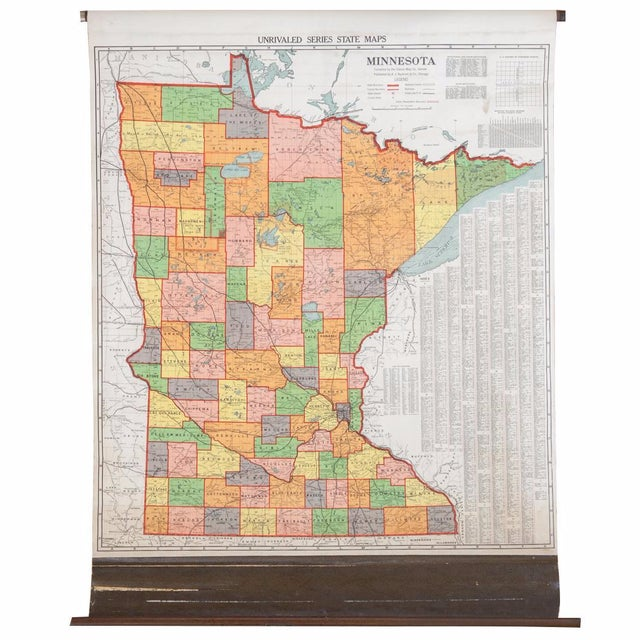 Antique Nystrom Pull Down Map of Minnesota - Image 1 of 9