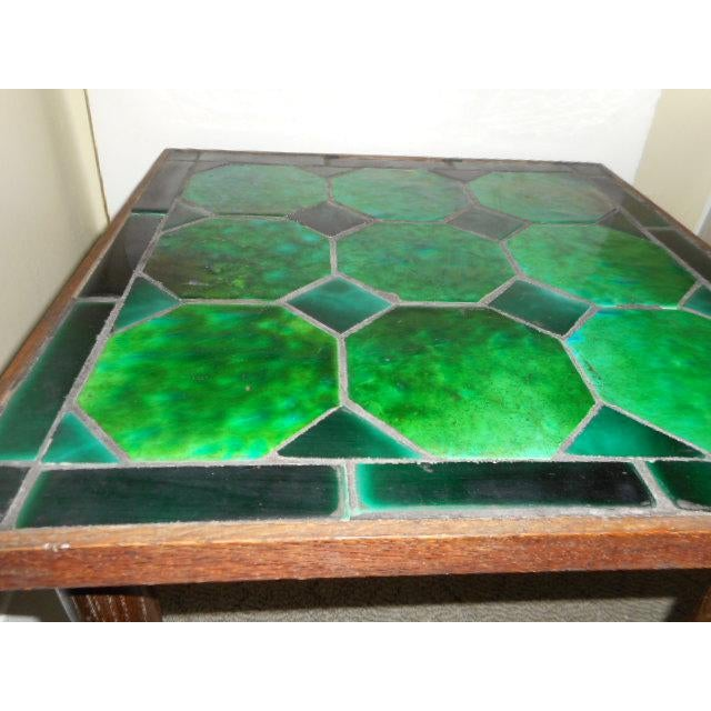 Mid Century Danish Tile Green Side Table - Image 3 of 7