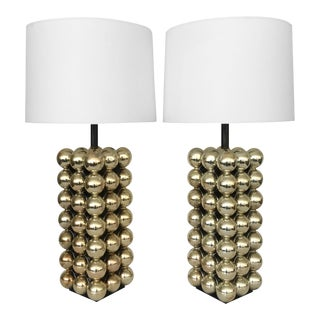 Resin Stacked Gold Ball Lamps - A Pair