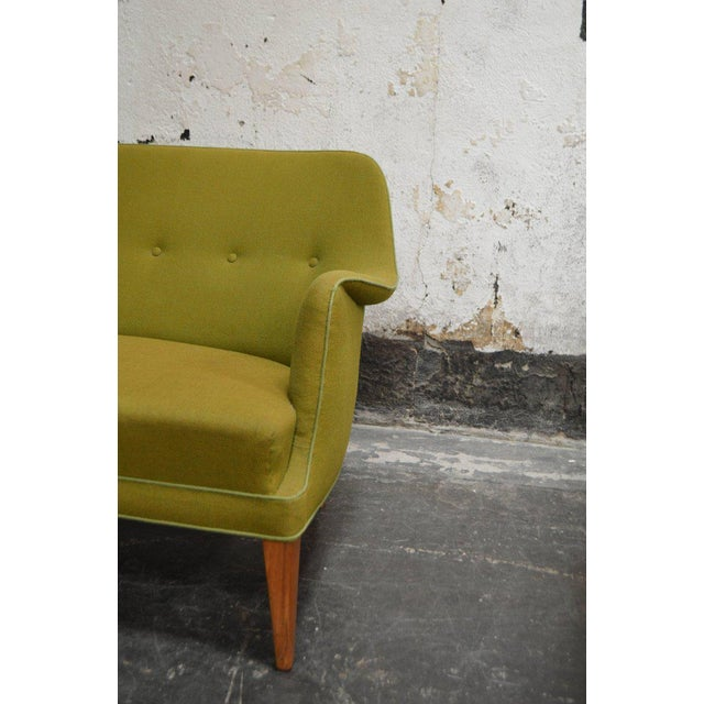Mid-Century Scandinavian Modern Green Tweed Sofa in the Style of Carl Malmsten - Image 6 of 6