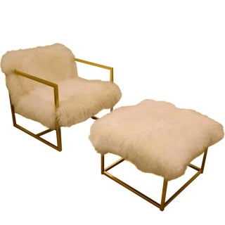 MidCentury Floating Sheepskin Chair and Ottoman