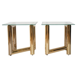 """Brass """"Z"""" Shaped End Tables - A Pair"""