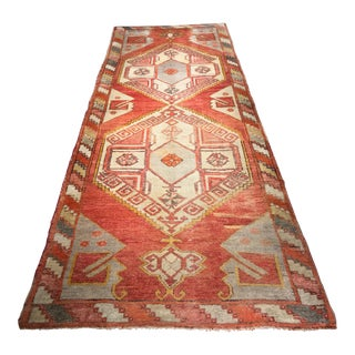 "Old Vintage Turkish Oushak Runner - 4'1""x11'11"""